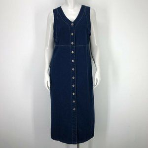 Vintage Bill Blass S Long Denim Dress Button Front